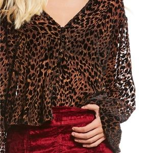 Free People Leopard Blouse